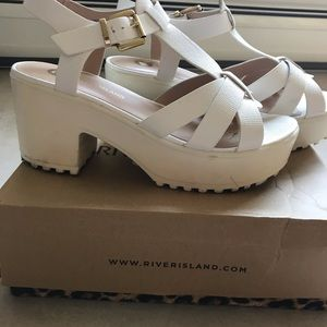 River Island Port White Strappy Sandals Size 9!